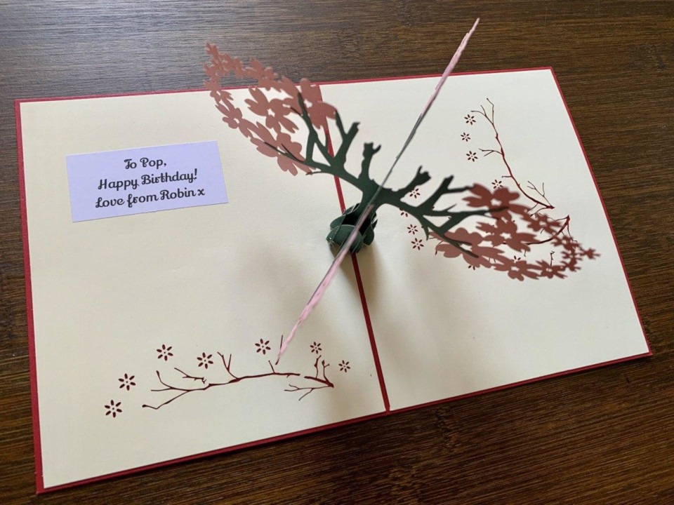 Example of a personal gift message in one of our 3D pop-up cards.